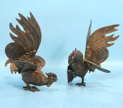 """8"""" Vintage Pair Bronze Statue Sculptures Fighting Roosters Cockfight Germany"""