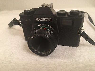 Vintage Weston WX-7 35MM Film Camera w/ F 50MM Optical Lens as- for - parts