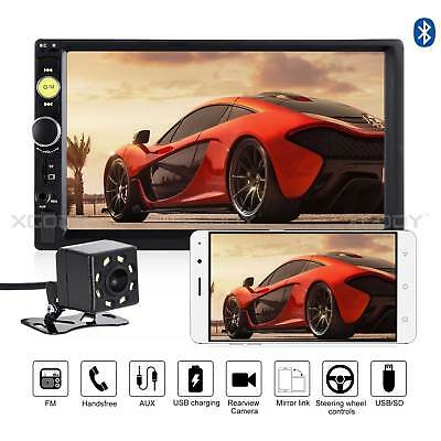 "7"" Bluetooth Touch Screen Double 2DIN Car Stereo Radio MP5 MP3 Player HD Camera"