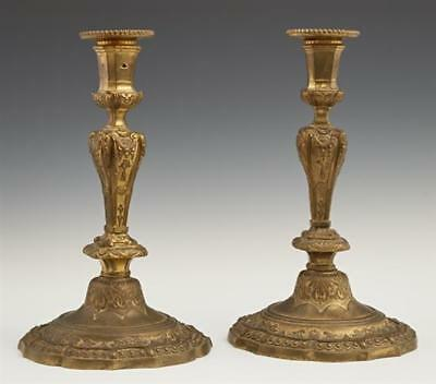 Pair of French Louis XV Style Gilt Bronze Candlesticks, 19th c., the o... Lot 12