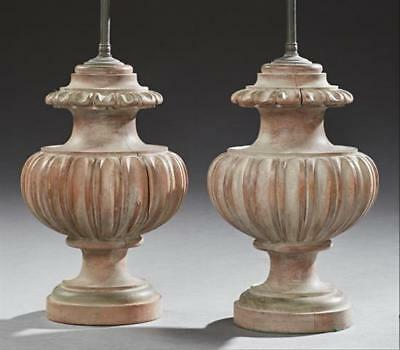 Pair of Polychromed Carved Wood Baluster Urn Lamps, 20th c., of lobed... Lot 512