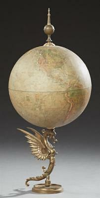 Replogle Land and Sea World Globe, early 20th c., on a brass winged g... Lot 502
