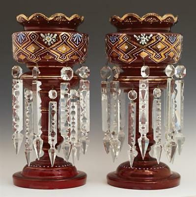 Pair of English Victorian Ruby Glass Lusters, 19th c., gilt and ename... Lot 347