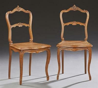 Pair of French Provincial Louis XV Style Carved Walnut Cane Seat Bedro... Lot 78