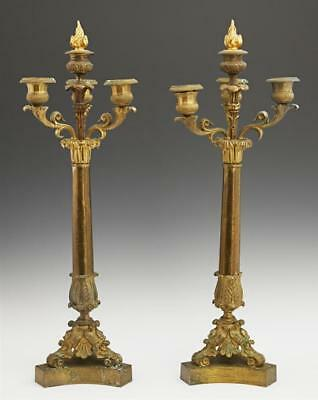 Pair of French Charles X Bronze Four Light Candelabra, 19th c., with ... Lot 617