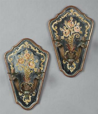 Pair of Antique French Two Light Candle Sconces, mid 19th c., of tape... Lot 740