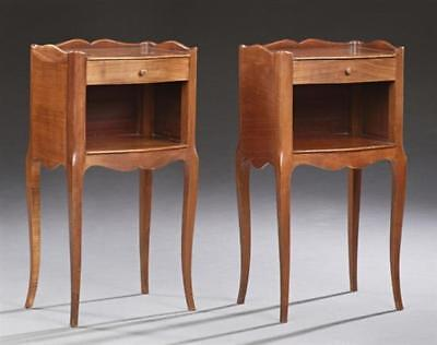 Pair of French Louis XV Style Bowfront Nightstands, 20th c., the three... Lot 52