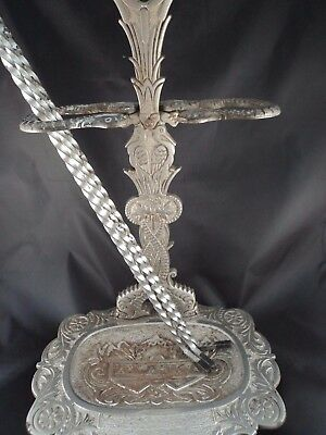 Antique Troy Nickel Works Fireplace Tool Stand Tools Cast Iron Plated Alaska