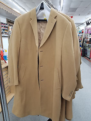Jos A Bank Executive Full Length Merino Wool Topcoat in Camel
