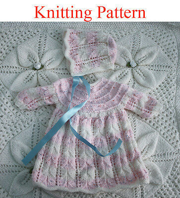 """Knitting pattern for 15 - 18 """" doll or premature baby dress and hat"""