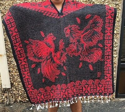 Mexican Poncho, Fighting roosters, Blanket Serape Gaban ,One Size Fit All , RED