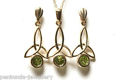 9ct Gold Peridot Pendant and Earring Set Gift Boxed Made in UK