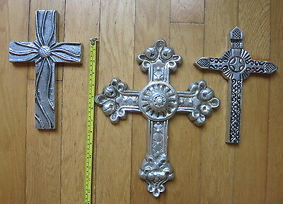 Lot of 3 Large Beautiful Pewter Crosses
