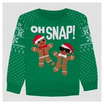 e2a6f72d9d987 NEW Girls OH SNAP Gingerbread Man Green Christmas Ugly Sweater Large (10-12)