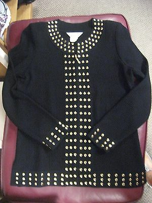 NWOT Exclusively Misook black knit with gold studs zip jacket XS