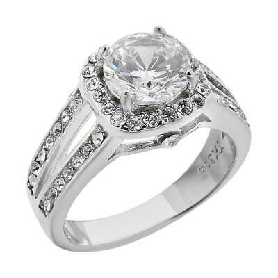 2.95 Ct Halo Round Cut CZ Stainless Steel Engagement Ring Band Women's Size 5-11