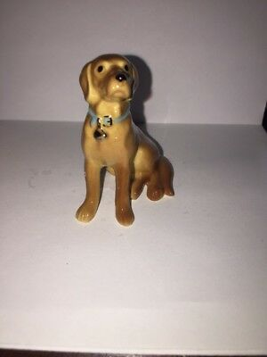 Hagen Renaker Vintage GOLDEN RETRIEVER Dog Miniature Figurine BLUE COLLAR & TAG
