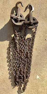 1/4 Ton Differential Chain Block Pulley, Yale & Towne Hoist Set of 2 Made in USA