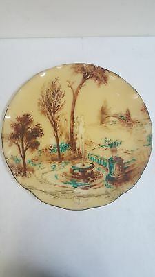 Vintage Limoges Hand Painted Water Fountain Plastic Decorative Collectors Plate