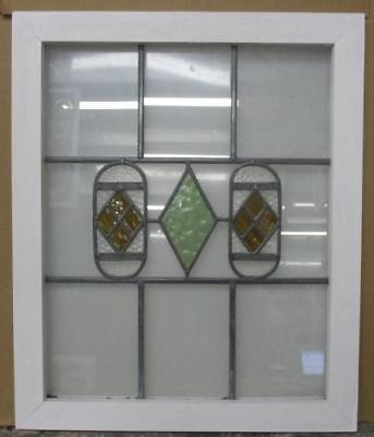 MID SIZED OLD ENGLISH LEADED STAINED GLASS WINDOW Simple Diamonds 22.25 x 26.75""
