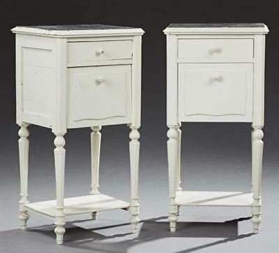 Pair of French Louis XVI Style Polychromed Oak Marble Top Nightstands... Lot 882