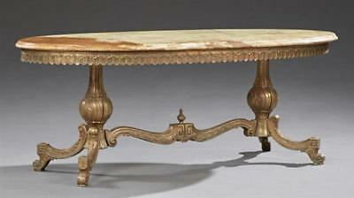 French Brass and Onyx Louis XV Style Coffee Table, 20th c., the oval... Lot 1078