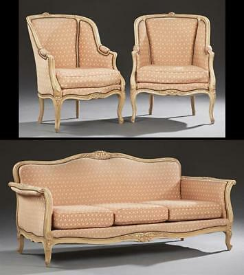 Three Piece French Polychromed Louis XV Style Carved Beech Parlor Sui... Lot 880