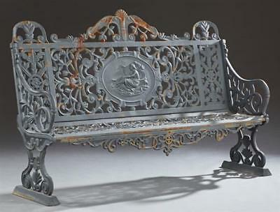 Cast Iron Victorian Style Garden Bench, late 20th c., the pierced flo... Lot 913