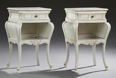 Pair of French Polychromed Mahogany Louis XV Style Nightstand, 20th c... Lot 884