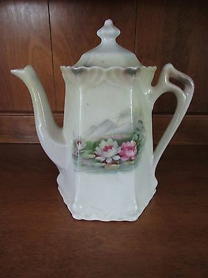 Antique Vintage Beige Porcelain 6-Sided Tea Pot w/Water Lillies~Germany