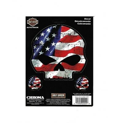 Harley-Davidson American Flag Willie G. Skull Decal free shipping