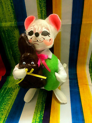 """Annalee Spring Easter Boy Mouse With Eaten Chocolate Bunny 8"""" New 2018 201718"""