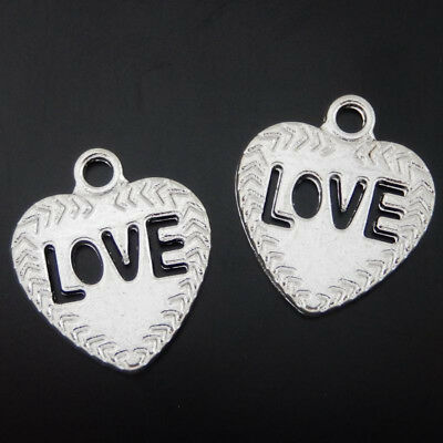 50498Vintage Silver Alloy Heart Shape Love Pendants Charms Crafts Findings 20pcs