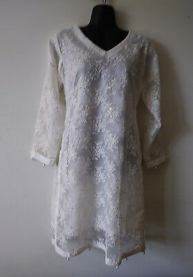 Pakistani/ indian party dress Net kurti With Embroidery  front and back.