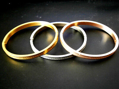 Stainless Steel Gold Silver Rose Tone Ancinet Greek Key Bangle Bracelet Bead