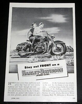 1953 Old Magazine Print Ad, Stay Out Front On A Harley-Davidson Hydra-Glide M/c!