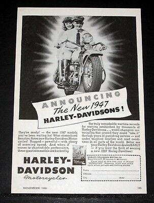 1947 Old Magazine Print Ad, Announcing The New Harley-Davidson, Streamlined!