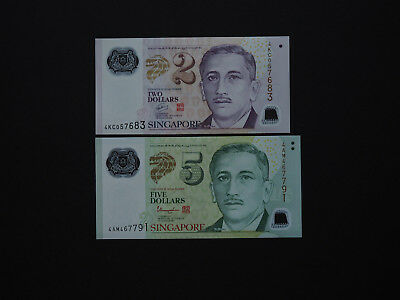 Singapore Banknotes Excellent Set of Two    $2 and $5    2015-2016      Mint UNC