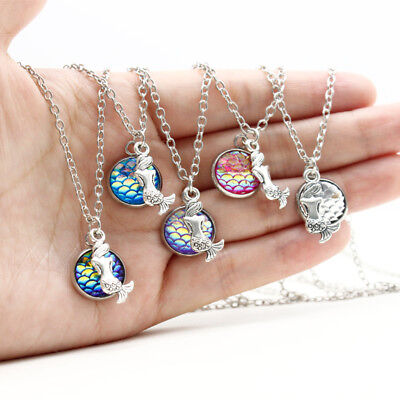 Mermaid pendant necklace chain keyring holographic charm jewellery key ring bag
