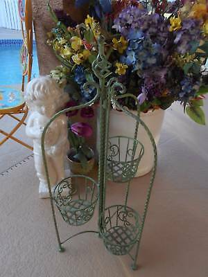 vintage inspired wrought iron PLANT STAND 3 tier antiqued mint green collapsible