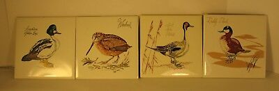"""Screencraft Bird ceramic/hot plate  - 6"""" square - Lot of 4 painted tile."""