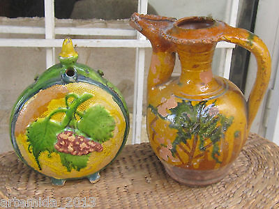 Lot of VERY RARE Antique OTTOMAN EMPIRE Ceramics Glazed POTTERY PITCHER &CANTEEN