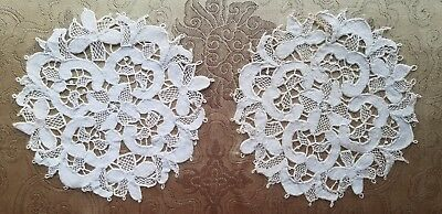 A41 Antique Doily Italian Needle Lace Small Set Pair Rounds Mats Lot of 2