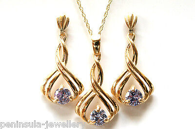 9ct Gold Fancy Lilac CZ Pendant and Drop Earring Set Gift Boxed Made in UK