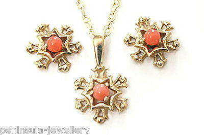 9ct Gold Coral Snowflake Pendant and Earring Set Made in UK Gift Boxed