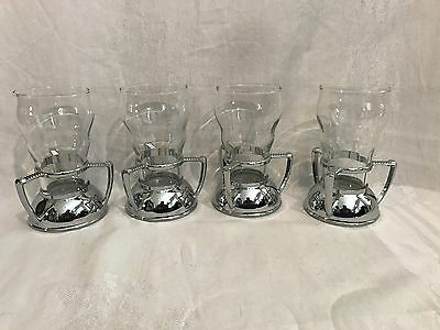 Vintage Libbey Mid Century Bar Glasses With Individual Chrome Handled Holders-4
