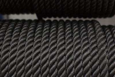 Nylon 3 Strand Twisted Rope 12mm x 100m Black