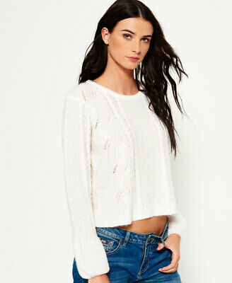 New Womens Superdry Bell Sleeve Cable Knit Jumper Winter