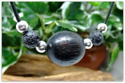 Spherical bead design Necklace Handcrafted in Irish Bog Oak wood with Lava rock