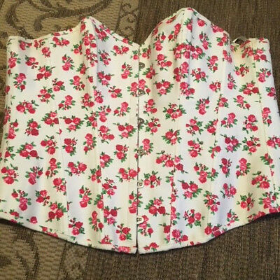 ADORE ME Rose Print Corset Back Strapless Top Plus Womens Size 1X Large Sexy